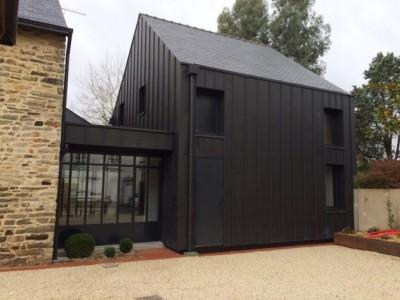 Maison bois etel pr s de erdeven breizh bois construction r alisations maison bois - Garage charpentier nantes ...